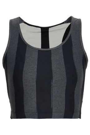 SÀPOPA Martina cutout mesh-paneled striped stretch sports bra