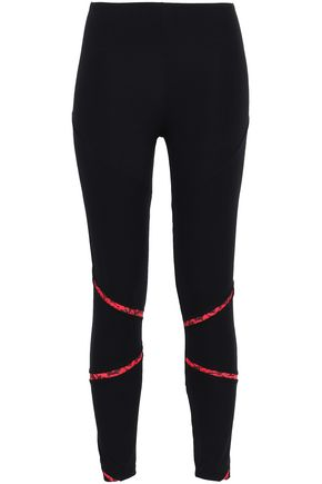 SÀPOPA Glittered lace-trimmed stretch leggings