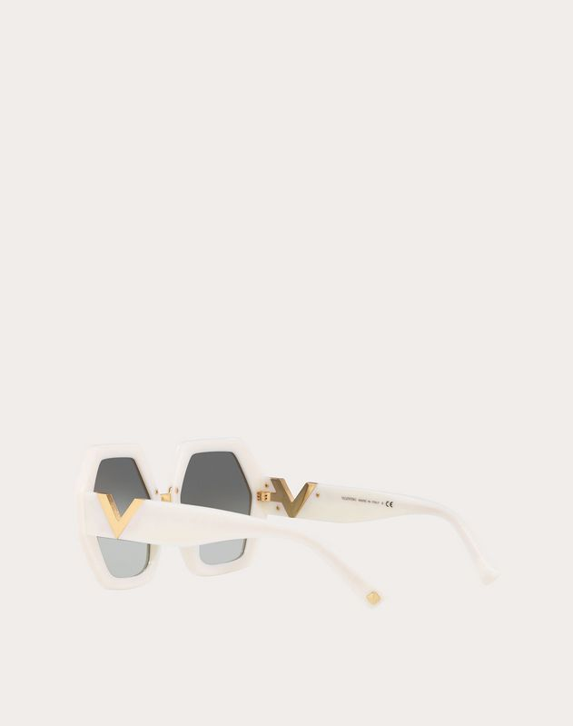 HEXAGONAL OVERSIZED VLOGO ACETATE SUNGLASSES