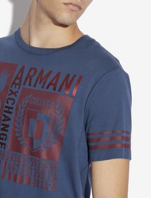 ARMANI EXCHANGE REGULAR-FIT COLLEGIATE METALLIC CREST CREWNECK TEE Graphic T-shirt [*** pickupInStoreShippingNotGuaranteed_info ***] b