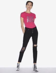 ARMANI EXCHANGE STUDDED GLITTER LOGO CREW Logo T-shirt [*** pickupInStoreShipping_info ***] d