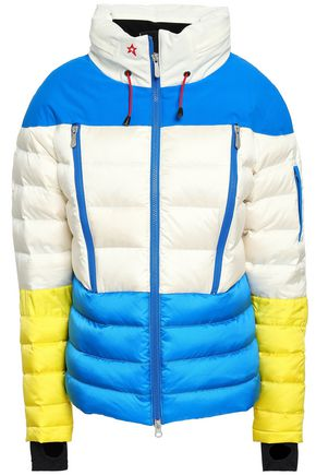 PERFECT MOMENT Color-block quilted shell hooded jacket