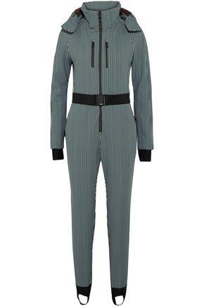 FENDI Belted striped stirrup ski suit