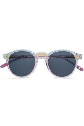 FREDA BANANA Round-frame bead-embellished acetate sunglasses