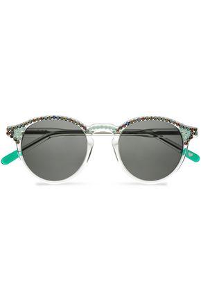 FRĒDA BANANA. Embellished round-frame acetate sunglasses