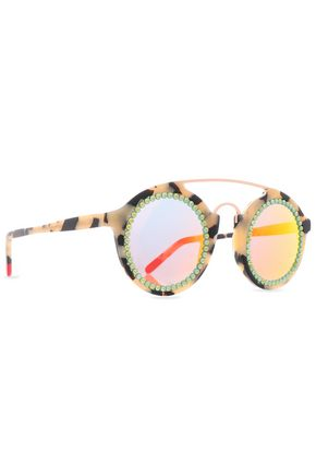 FREDA BANANA Round-frame crystal-embellished acetate sunglasses