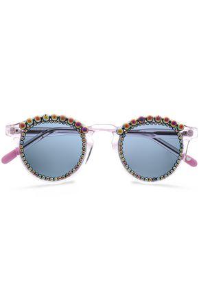 FRĒDA BANANA. Faux pearl-embellished round-frame acetate sunglasses