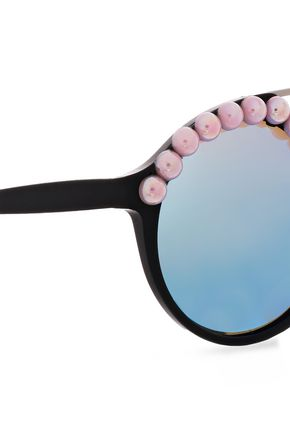 FRĒDA BANANA. Faux pearl-embellished round-frame acetate and silver-tone sunglasses
