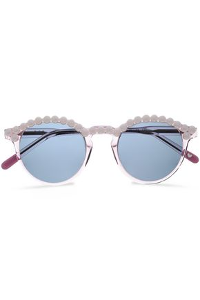 FRĒDA BANANA. Faux pearl-embellished round-frame acetate sunglasses