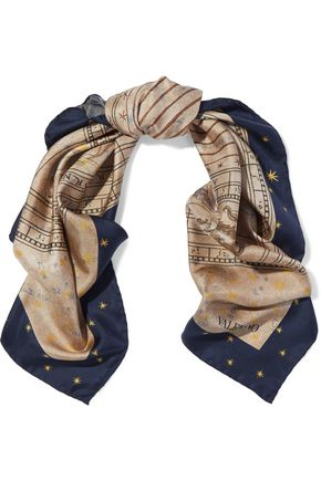 VALENTINO Printed silk-satin twill scarf
