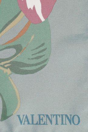 ヴァレンティノ フローラルプリント シルクツイル スカーフ