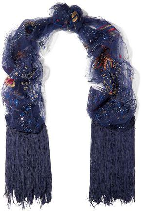 VALENTINO Embellished tulle scarf