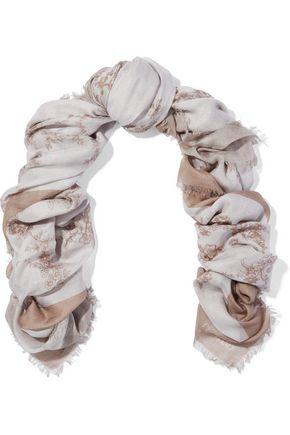 VALENTINO GARAVANI Floral-print modal and cashmere-blend scarf