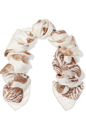 VALENTINO Printed silk-chiffon scarf