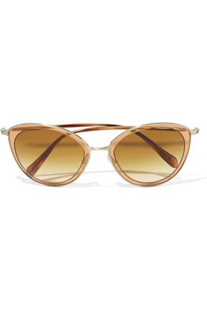 OLIVER PEOPLES Cat-eye acetate and gold-tone sunglasses