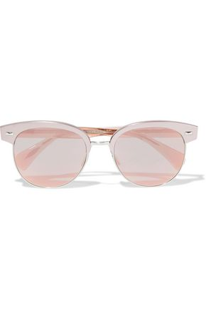 OLIVER PEOPLES Round-frame silver-tone and acetate mirrored sunglasses
