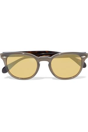 OLIVER PEOPLES Round-frame acetate mirrored sunglasses