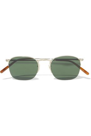 OLIVER PEOPLES Square-frame gold-tone sunglasses