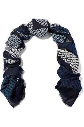 DIANE VON FURSTENBERG Frayed printed modal and cashmere-blend scarf