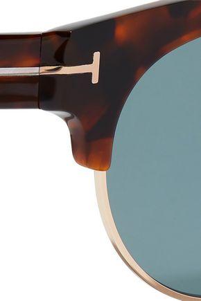 TOM FORD D-frame tortoiseshell acetate and gold-tone sunglasses