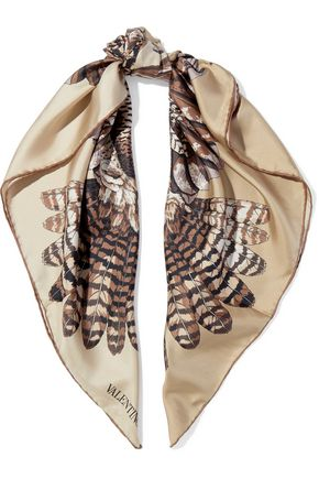 VALENTINO Frayed printed cashmere and silk-blend scarf