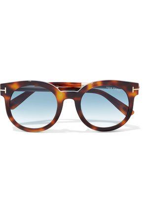 TOM FORD Janina round-frame tortoiseshell acetate and gold-tone sunglasses