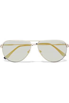 27d0364494 TOM FORD Erin aviator-style silver-tone sunglasses
