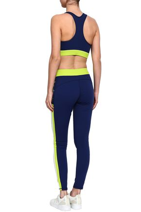 PERFECT MOMENT Stripes Stars neon-trimmed printed stretch leggings