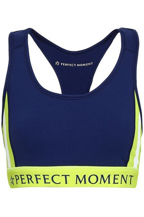 PERFECT MOMENT Stripes Stars neon-trimmed printed stretch sports bra