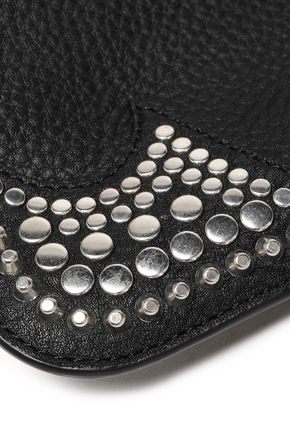 McQ Alexander McQueen Cutout studded pebbled-leather pouch