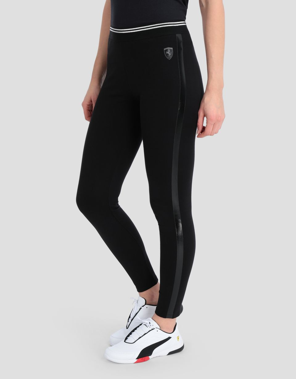 Scuderia Ferrari Online Store - Women's leggings with side stripes in PVC - Joggers