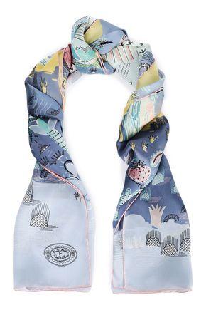 VALENTINO Printed silk-organza scarf