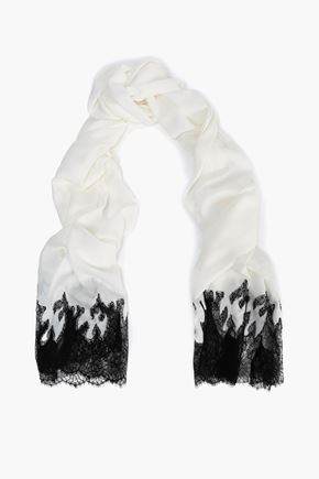 VALENTINO Lace-trimmed modal and cashmere-blend scarf