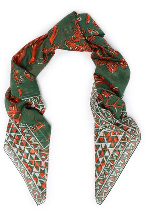 VALENTINO Printed cotton and silk-blend scarf