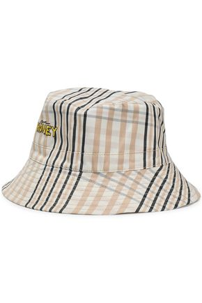 GANNI Embroidered checked cotton bucket hat