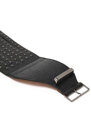 ALAÏA Studded pebbled-leather belt