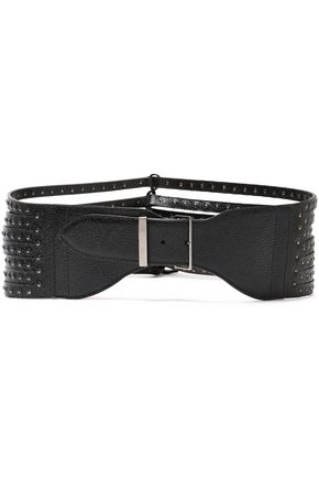 ALAÏA Studded pebbled-leather belt