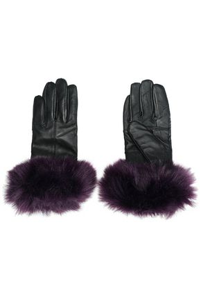 SURELL Faux fur-trimmed leather gloves