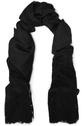 VALENTINO Lace-paneled modal, linen and silk-blend scarf
