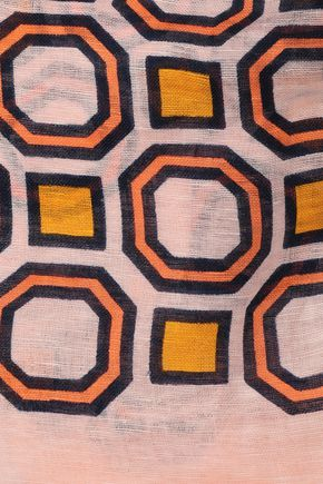 TORY BURCH Printed ramie and linen-blend scarf