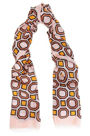 TORY BURCH | Tory Burch Printed Ramie And Linen-Blend Scarf | Goxip