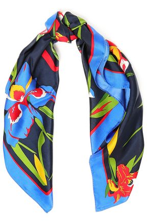 TORY BURCH Floral-print silk-twill scarf