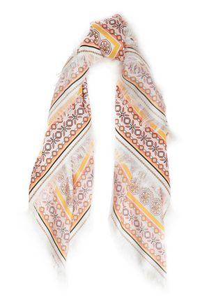 TORY BURCH Fringed printed silk-twill scarf