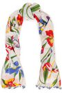 TORY BURCH Floral-print cotton and silk-blend mousseline scarf