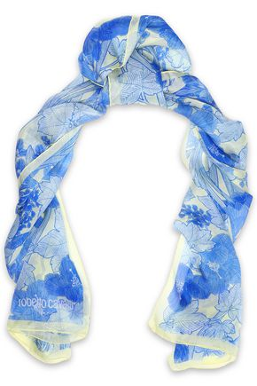 ROBERTO CAVALLI Floral-print silk scarf