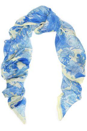 ROBERTO CAVALLI Metallic floral-print modal-blend scarf