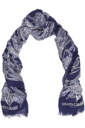 ROBERTO CAVALLI Frayed floral-print modal and cashmere-blend scarf