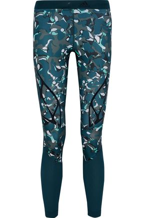 ADIDAS by STELLA McCARTNEY Coated printed mesh-paneled stretch leggings