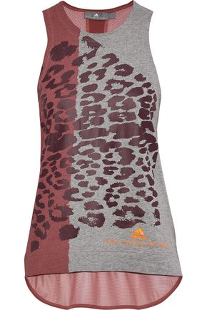 ADIDAS by STELLA McCARTNEY Mesh-paneled printed stretch-cotton jersey tank