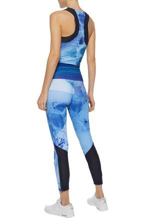 ADIDAS by STELLA McCARTNEY Run Climacool® mesh-paneled tie-dyed stretch leggings